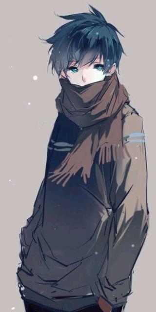 Обои на телефон коричневые, синие, милые, мальчик, аниме, sweater, scarf