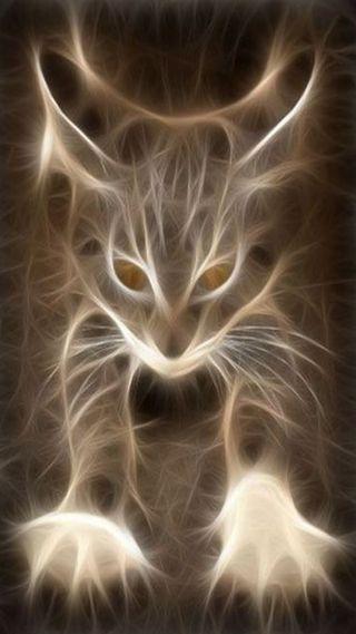 Обои на телефон фрактал, кошки, животные, абстрактные