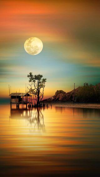 Обои на телефон озеро, природа, небо, луна, закат, вода, by the lake