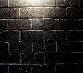 Обои на телефон кирпичи, черные, стена, black brick wall