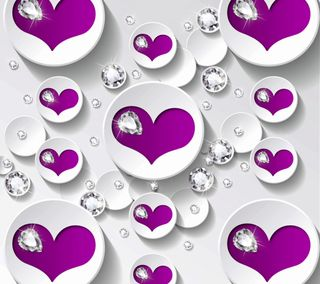 Обои на телефон валентинки, фиолетовые, сердце, любовь, дизайн, валентинка, бриллианты, valentines by marika, love