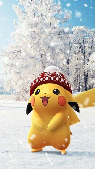 Обои на телефон снег, покемоны, пикачу, зима, winter pokemon, winter pikachu
