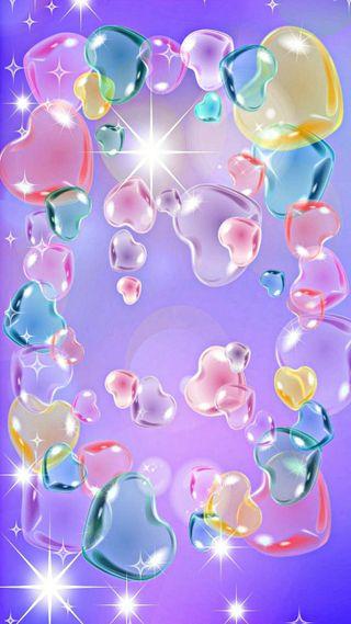 Обои на телефон пастельные, синие, сердце, красые