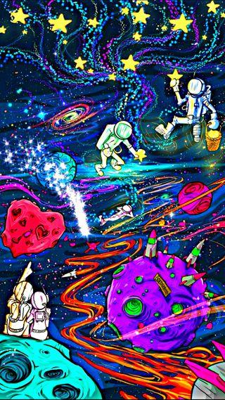 Обои на телефон солнечный, странные, планеты, неоновые, красочные, космос, кислота, звезды, hd, cosmic theater, cosmic