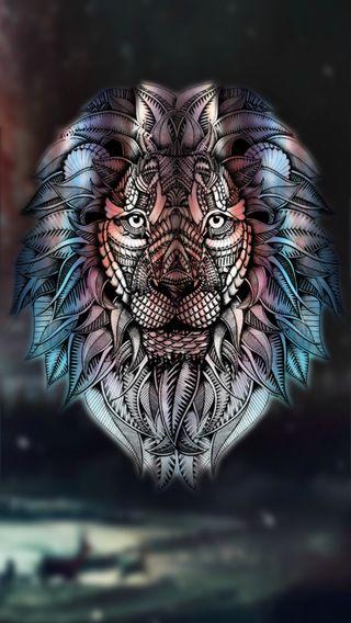 Обои на телефон голова, цветные, тату, лев, абстрактные