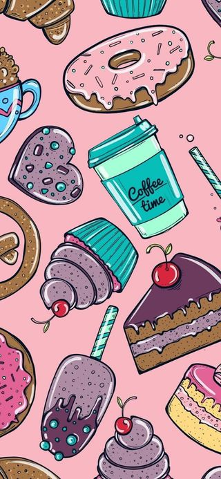 Обои на телефон snacks, treats, милые, розовые, кофе, еда, сладости, вкусный