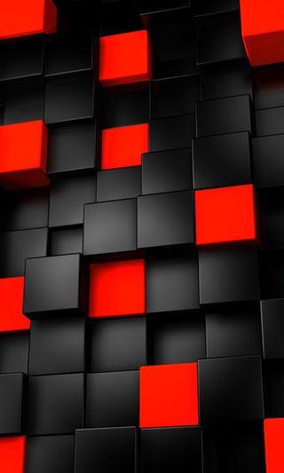 Обои на телефон кубы, черные, красые, абстрактные