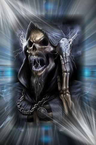 Обои на телефон наушники, череп, смерть, скелет, музыка, молния, металл