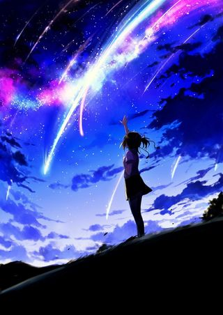 Обои на телефон одиночество, природа, милые, звезды, девушки, аниме