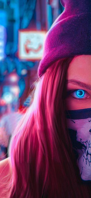 Обои на телефон женщины, синие, новый, неоновые, маска, девчачие, девушки, глаза, в тренде, masked