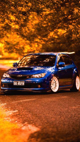 Обои на телефон субару, синие, осень, машины, subaru, blue car