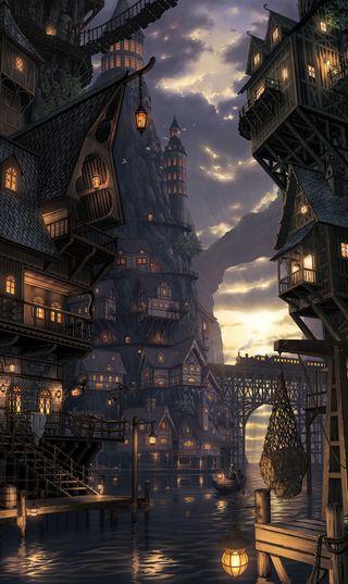 Обои на телефон рисунки, темные, прекрасные, пейзаж, закат, город, вода, milion lamps, lamps