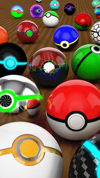 Обои на телефон шары, сфера, покемоны, пок, нинтендо, nintendo, 3д, 3d