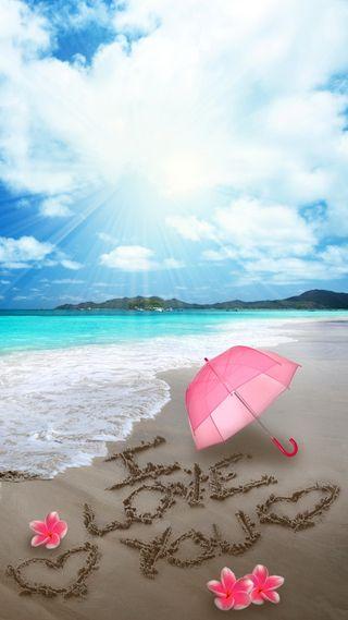 Обои на телефон песок, ты, сердце, романтика, пляж, море, любовь, амбрелла, plumeria, love, i love you