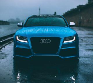 Обои на телефон синие, машины, дождь, ауди, audi s5, audi