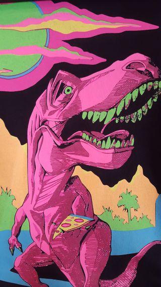 Обои на телефон пицца, розовые, психоделические, динозавр, trex, t-rex, pink trex eats pizza, funky
