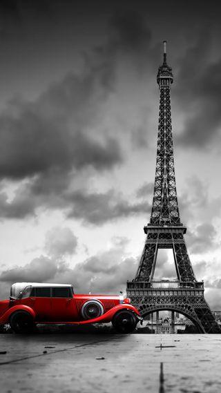 Обои на телефон архитектура, эйфелева башня, черные, париж, облака, машины, красые, белые, башня
