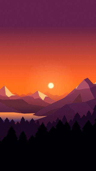 Обои на телефон многоугольник, пейзаж, закат, горы, landscape 11