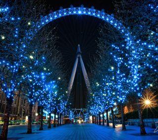 Обои на телефон англия, рождество, праздник, огни, лондон, глаза, британия, holiday eye