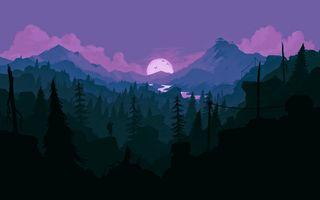 Обои на телефон рисунок, деревья, горы, nightfall, land