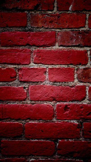 Обои на телефон кирпичи, стена, красые, red wall