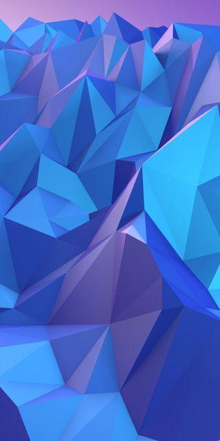 Обои на телефон многоугольник, фон, синие, абстрактные, rendering, polygonal, angles, 3д, 3d