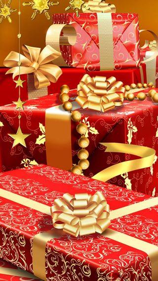 Обои на телефон рождество, красные, желтые, regalos, regalo, dorado