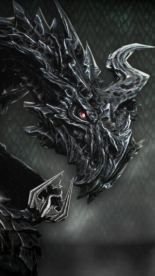 Обои на телефон скайрим, айфон 6, дракон, айфон 5, skyrims alduin drag, dragon, alduin