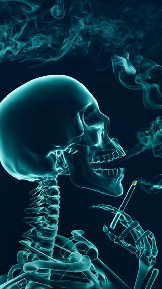 Обои на телефон туман, смерть, дым, череп, скелет, сигареты, кости, smoking roentgen skele, sKulls