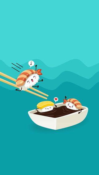 Обои на телефон еда, забавные, sushi