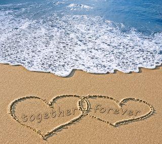Обои на телефон песок, сердце, пляж, навсегда, море, любовь, вместе, love