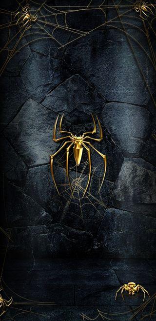 Обои на телефон черные, золотые, паук