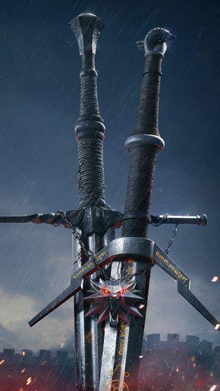 Обои на телефон стальные, серебряные, охота, меч, ведьмак, wil, the witcher 3