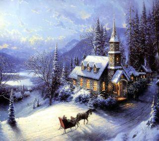 Обои на телефон церковь, лошадь, снег, рождество, дерево, sleigh, jingle bells, jingle