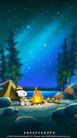 Обои на телефон снупи, синие, природа, огонь, ночь, лагерь, аврора, woodstock