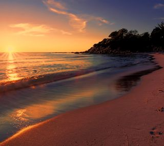 Обои на телефон солнце, океан, пляж