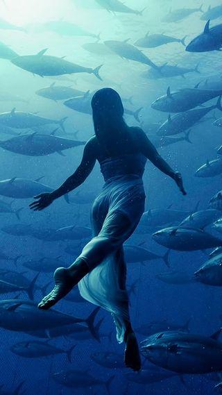 Обои на телефон глубокие, синие, рыба, океан, море, девушки