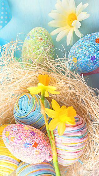 Обои на телефон цветы, весна, пасхальные, яйца