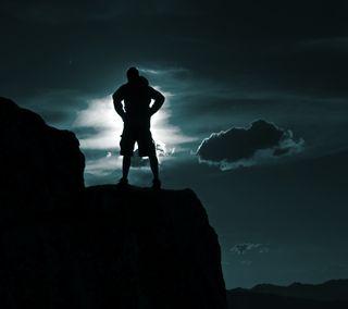 Обои на телефон силуэт, облака, луна, горы, epicness 7