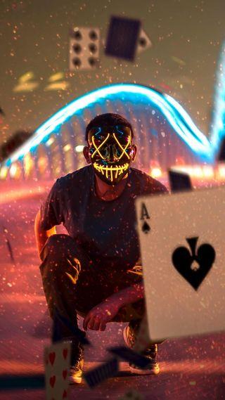 Обои на телефон парень, покер, неоновые, маска, neon poker guy