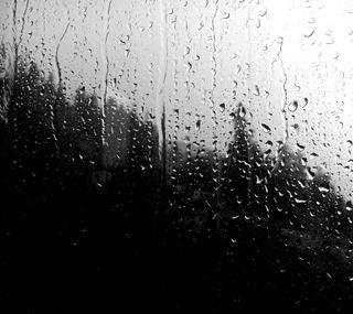 Обои на телефон окно, темные, капли, дождь, грустные, afternoon rain