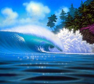 Обои на телефон волна, синие, природа, лето
