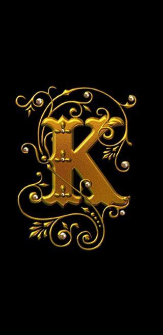 Обои на телефон черные, золотые, буквы, royal, letter k