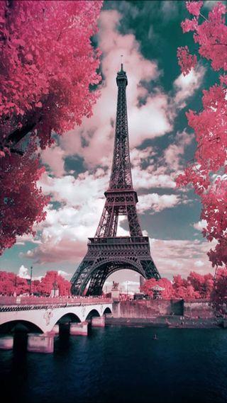 Обои на телефон облачно, розовые, башня