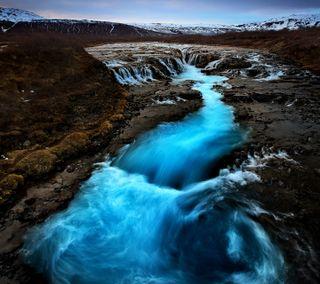 Обои на телефон водопад, синие