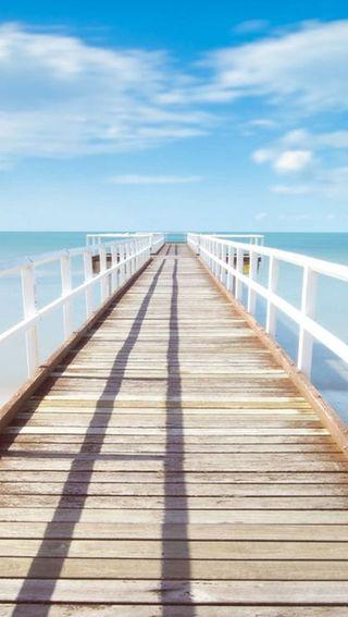 Обои на телефон мост, пляж, лето