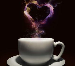 Обои на телефон чай, черные, чашка, формы, сердце, дым, heart shape, cup