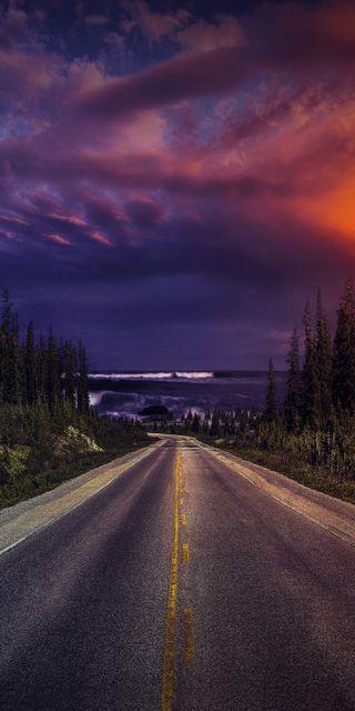 Обои на телефон пейзаж, ночь, дорога