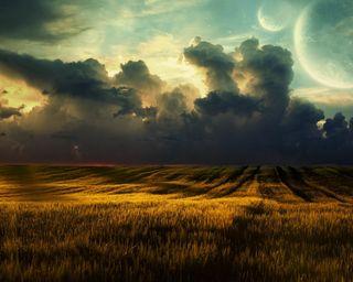 Обои на телефон темные, пшеница, поле, планеты, облака, луна, космос