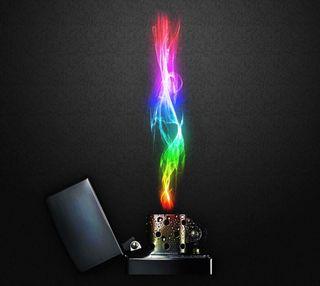 Обои на телефон цветные, сигареты, радуга, пламя, красочные, зажигалка, дым, zippo